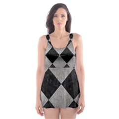 Square2 Black Marble & Gray Metal 1 Skater Dress Swimsuit