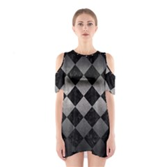 Square2 Black Marble & Gray Metal 1 Shoulder Cutout One Piece
