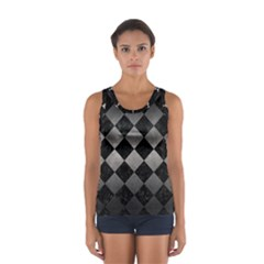 Square2 Black Marble & Gray Metal 1 Sport Tank Top