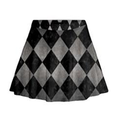 Square2 Black Marble & Gray Metal 1 Mini Flare Skirt