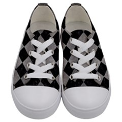 Square2 Black Marble & Gray Metal 1 Kids  Low Top Canvas Sneakers