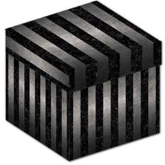 Stripes1 Black Marble & Gray Metal 1 Storage Stool 12