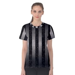 Stripes1 Black Marble & Gray Metal 1 Women s Cotton Tee