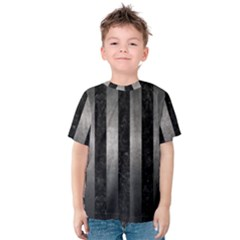 Stripes1 Black Marble & Gray Metal 1 Kids  Cotton Tee