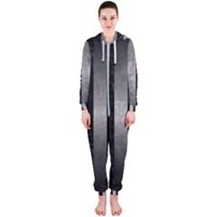 Stripes1 Black Marble & Gray Metal 1 Hooded Jumpsuit (ladies)