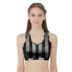 Stripes1 Black Marble & Gray Metal 1 Sports Bra With Border