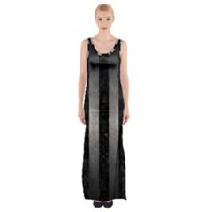 Stripes1 Black Marble & Gray Metal 1 Maxi Thigh Split Dress