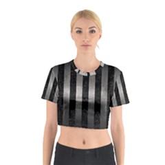 Stripes1 Black Marble & Gray Metal 1 Cotton Crop Top