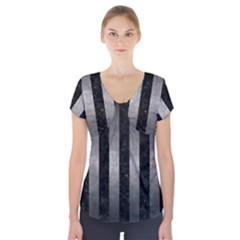 Stripes1 Black Marble & Gray Metal 1 Short Sleeve Front Detail Top