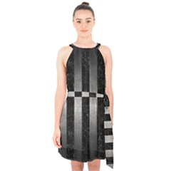 Stripes1 Black Marble & Gray Metal 1 Halter Collar Waist Tie Chiffon Dress