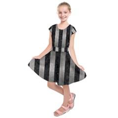 Stripes1 Black Marble & Gray Metal 1 Kids  Short Sleeve Dress