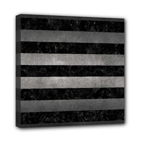 Stripes2 Black Marble & Gray Metal 1 Mini Canvas 8  X 8