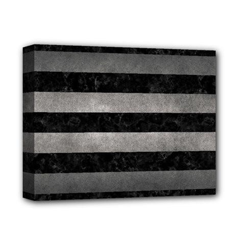 Stripes2 Black Marble & Gray Metal 1 Deluxe Canvas 14  X 11