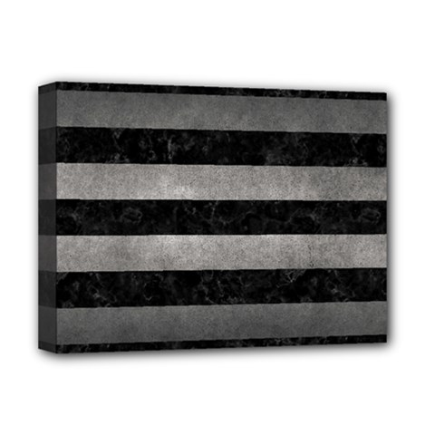 Stripes2 Black Marble & Gray Metal 1 Deluxe Canvas 16  X 12