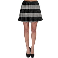 Stripes2 Black Marble & Gray Metal 1 Skater Skirt