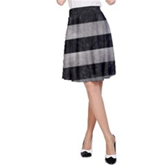 Stripes2 Black Marble & Gray Metal 1 A Line Skirt