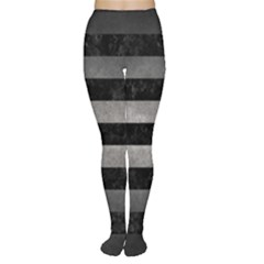 Stripes2 Black Marble & Gray Metal 1 Women s Tights