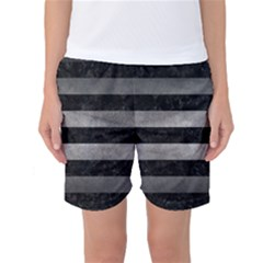 Stripes2 Black Marble & Gray Metal 1 Women s Basketball Shorts