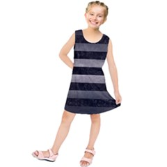 Stripes2 Black Marble & Gray Metal 1 Kids  Tunic Dress