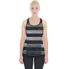 Stripes2 Black Marble & Gray Metal 1 Piece Up Tank Top