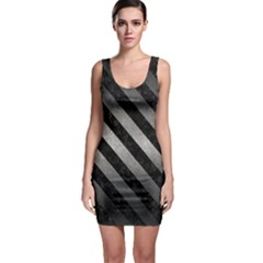 Stripes3 Black Marble & Gray Metal 1 (r) Bodycon Dress