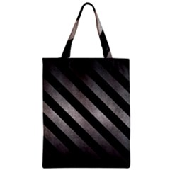 Stripes3 Black Marble & Gray Metal 1 (r) Zipper Classic Tote Bag