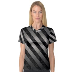 Stripes3 Black Marble & Gray Metal 1 (r) V Neck Sport Mesh Tee