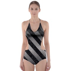Stripes3 Black Marble & Gray Metal 1 (r) Cut Out One Piece Swimsuit