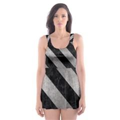Stripes3 Black Marble & Gray Metal 1 (r) Skater Dress Swimsuit