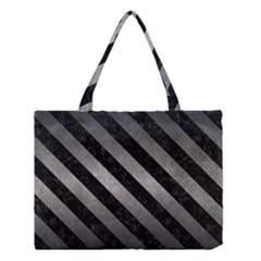 Stripes3 Black Marble & Gray Metal 1 (r) Medium Tote Bag