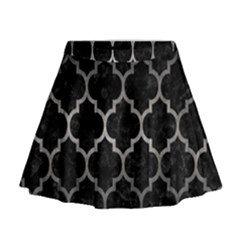 Tile1 Black Marble & Gray Metal 1 Mini Flare Skirt