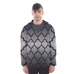 Tile1 Black Marble & Gray Metal 1 (r) Hooded Wind Breaker (men)