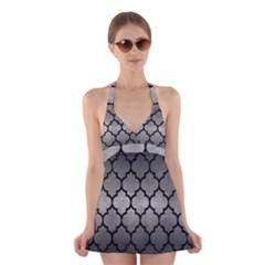 Tile1 Black Marble & Gray Metal 1 (r) Halter Swimsuit Dress