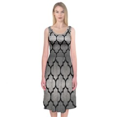 Tile1 Black Marble & Gray Metal 1 (r) Midi Sleeveless Dress