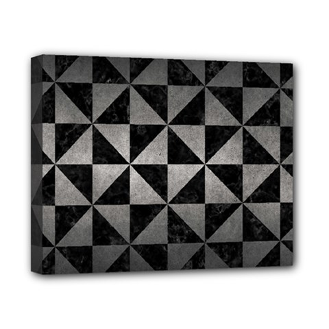 Triangle1 Black Marble & Gray Metal 1 Canvas 10  X 8