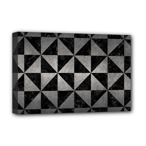 Triangle1 Black Marble & Gray Metal 1 Deluxe Canvas 18  X 12