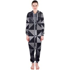 Triangle1 Black Marble & Gray Metal 1 Hooded Jumpsuit (ladies)