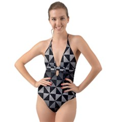 Triangle1 Black Marble & Gray Metal 1 Halter Cut Out One Piece Swimsuit