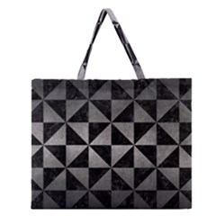 Triangle1 Black Marble & Gray Metal 1 Zipper Large Tote Bag