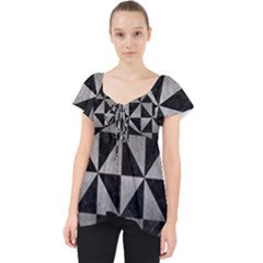 Triangle1 Black Marble & Gray Metal 1 Lace Front Dolly Top