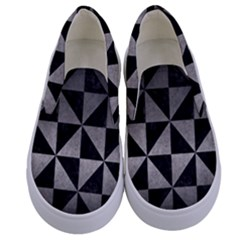 Triangle1 Black Marble & Gray Metal 1 Kids  Canvas Slip Ons