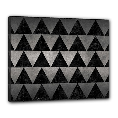 Triangle2 Black Marble & Gray Metal 1 Canvas 20  X 16