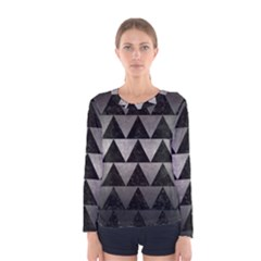 Triangle2 Black Marble & Gray Metal 1 Women s Long Sleeve Tee