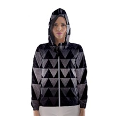 Triangle2 Black Marble & Gray Metal 1 Hooded Wind Breaker (women)