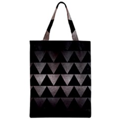Triangle2 Black Marble & Gray Metal 1 Zipper Classic Tote Bag