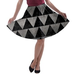 Triangle2 Black Marble & Gray Metal 1 A Line Skater Skirt