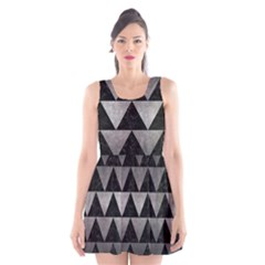 Triangle2 Black Marble & Gray Metal 1 Scoop Neck Skater Dress