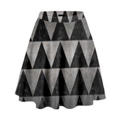 Triangle2 Black Marble & Gray Metal 1 High Waist Skirt