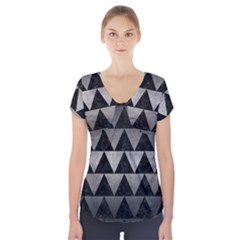 Triangle2 Black Marble & Gray Metal 1 Short Sleeve Front Detail Top