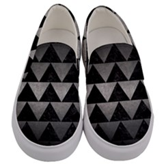 Triangle2 Black Marble & Gray Metal 1 Men s Canvas Slip Ons